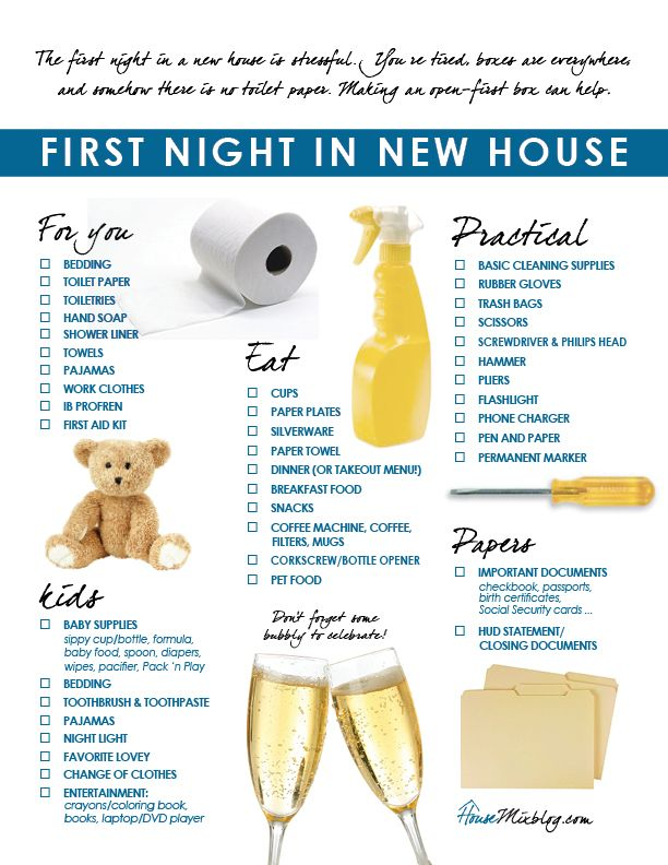 Moving Checklist For Familys First Night In New House Not Sure Where To Pin This But It Seems Very Useful Of We Ever Move