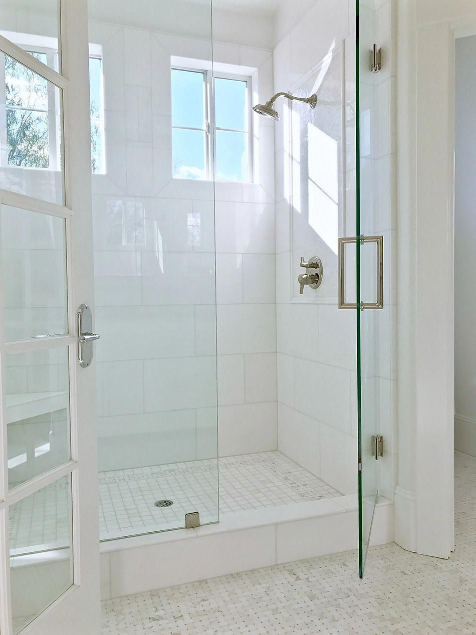 Beautiful Light Airy White Shower With White 12 X 24 Akdo Thassos Tiles And White And Light Gra Bathroom Shower Design Master Bath Remodel Bathrooms Remodel