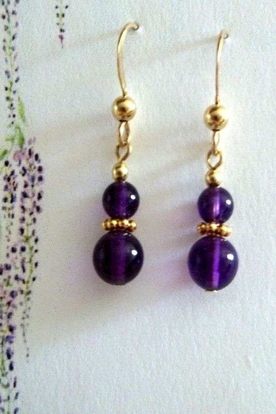 Gold filled Amethyst earring by Cabsynth on Etsy, $12.00
