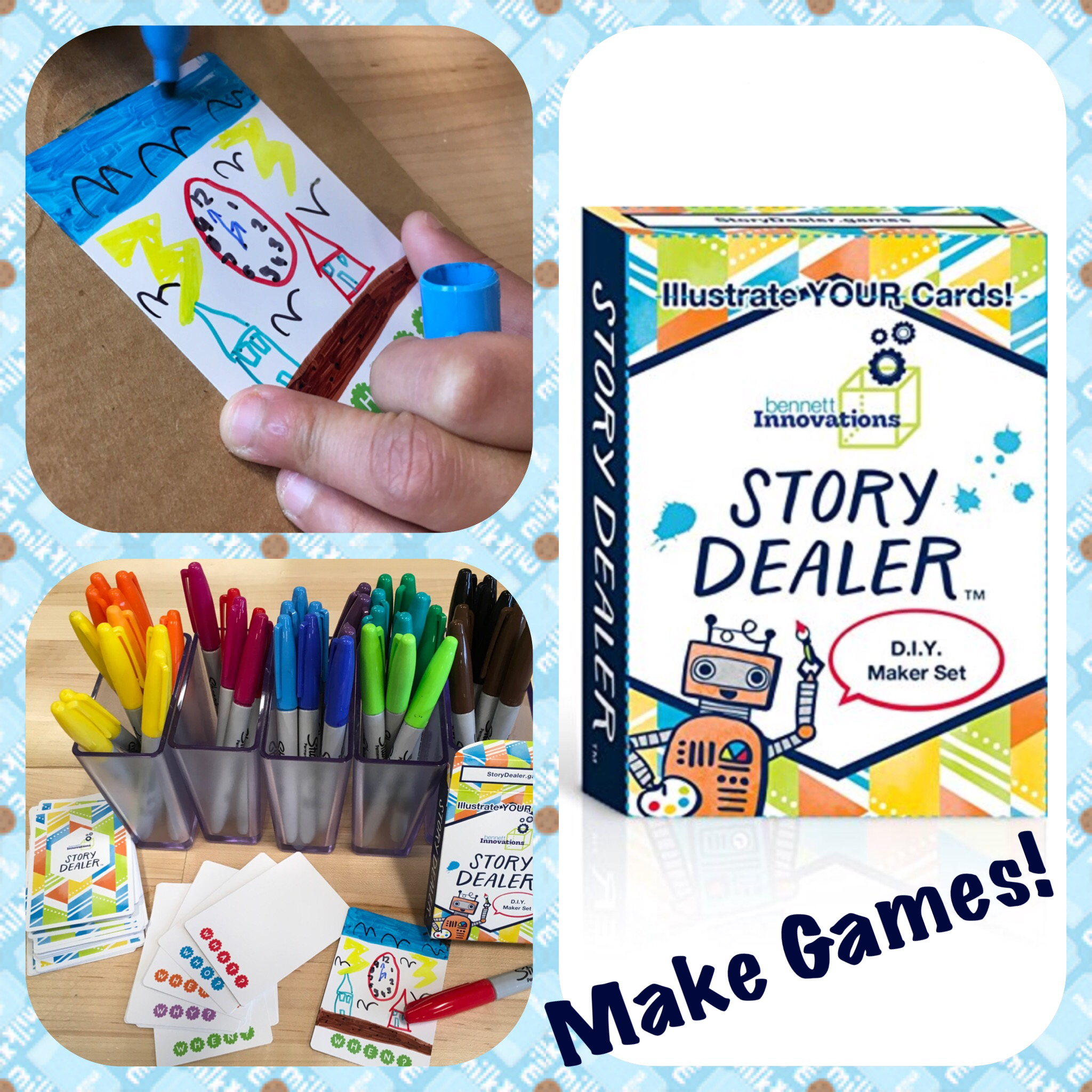Make Games D I Y Maker Space Edition Of Story Dealer Card Game In Suits Of Who What Where When Why By Benn Diy For Kids Thinking Games Diy Playing Cards