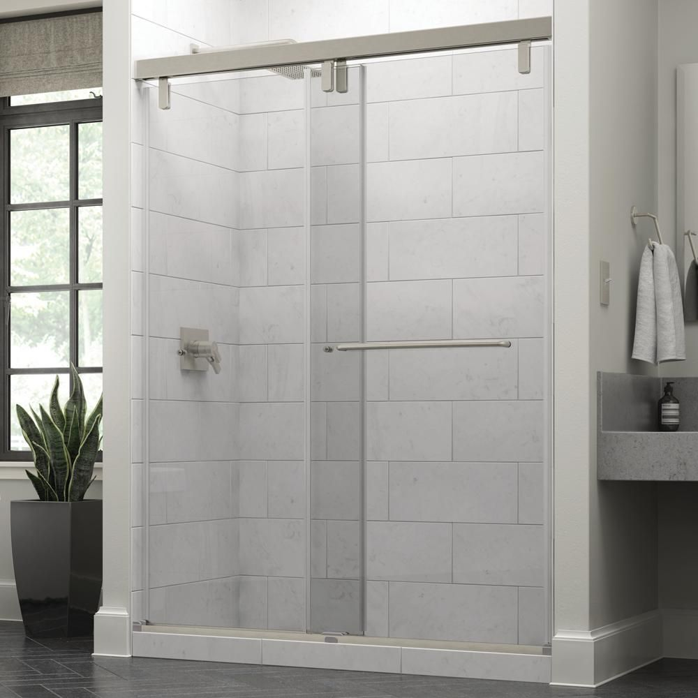 Delta Simplicity 60 X 71 1 2 In Frameless Mod Soft Close Sliding Shower Door In Nickel With 3 8 In 10mm Clear Glass Sd3443208 Shower Doors Frameless Sliding Shower Doors Bathtub Doors