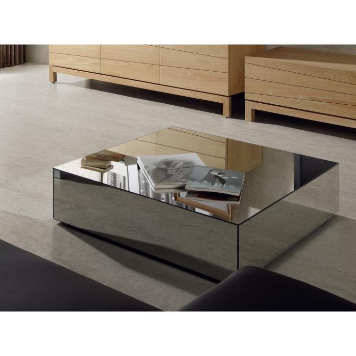 Table Basse Moderne Carree Facade Miroir Tomeo Table Basse