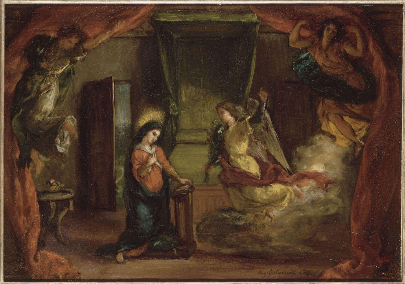 Эжен Делакруа. Благовещение (Эскиз). 1841 | Краска ...