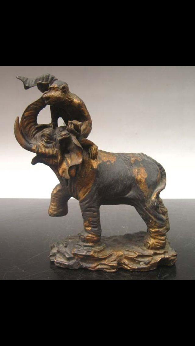 Monkey Elephant Bronze Sculpture