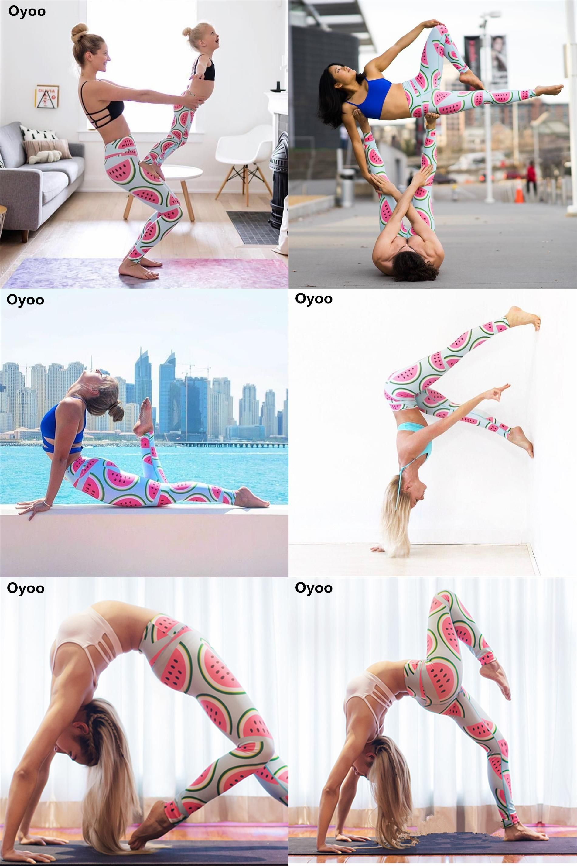 18d0bc8516de7a [Visit to Buy] Oyoo cute pink watermelon legging printed sport yoga pants  women high waist gym fitness leggings support drop shipping #Advertisement