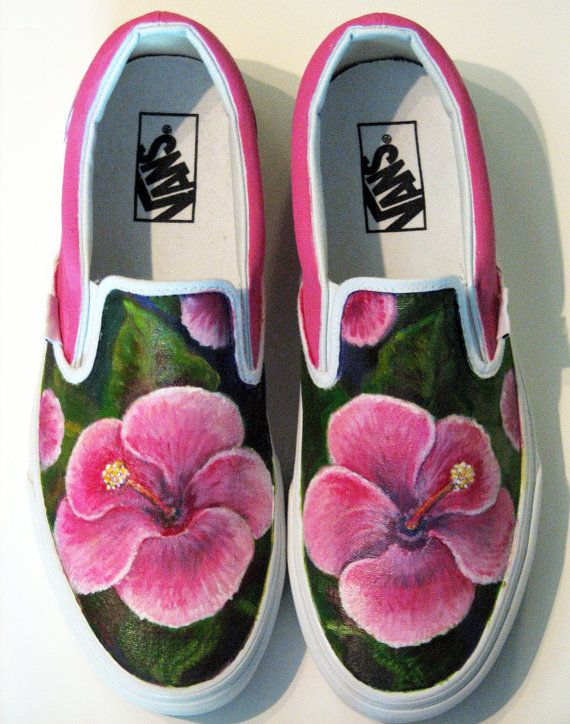 Vans or Toms Shoes with Hibiscus Flower