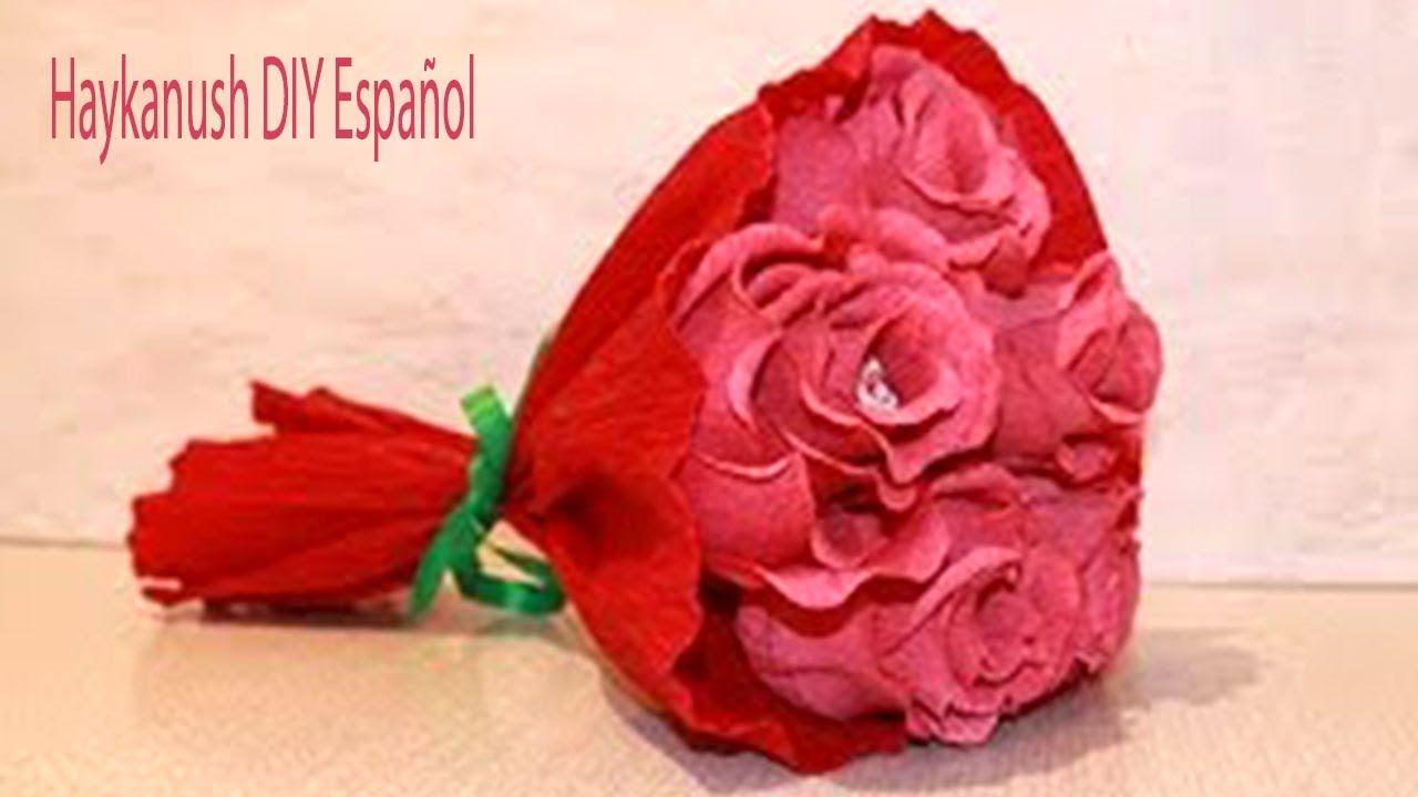 Como Haser Rosas Con Papel Crepe Faciles Paso A Paso Ramo De Rosas