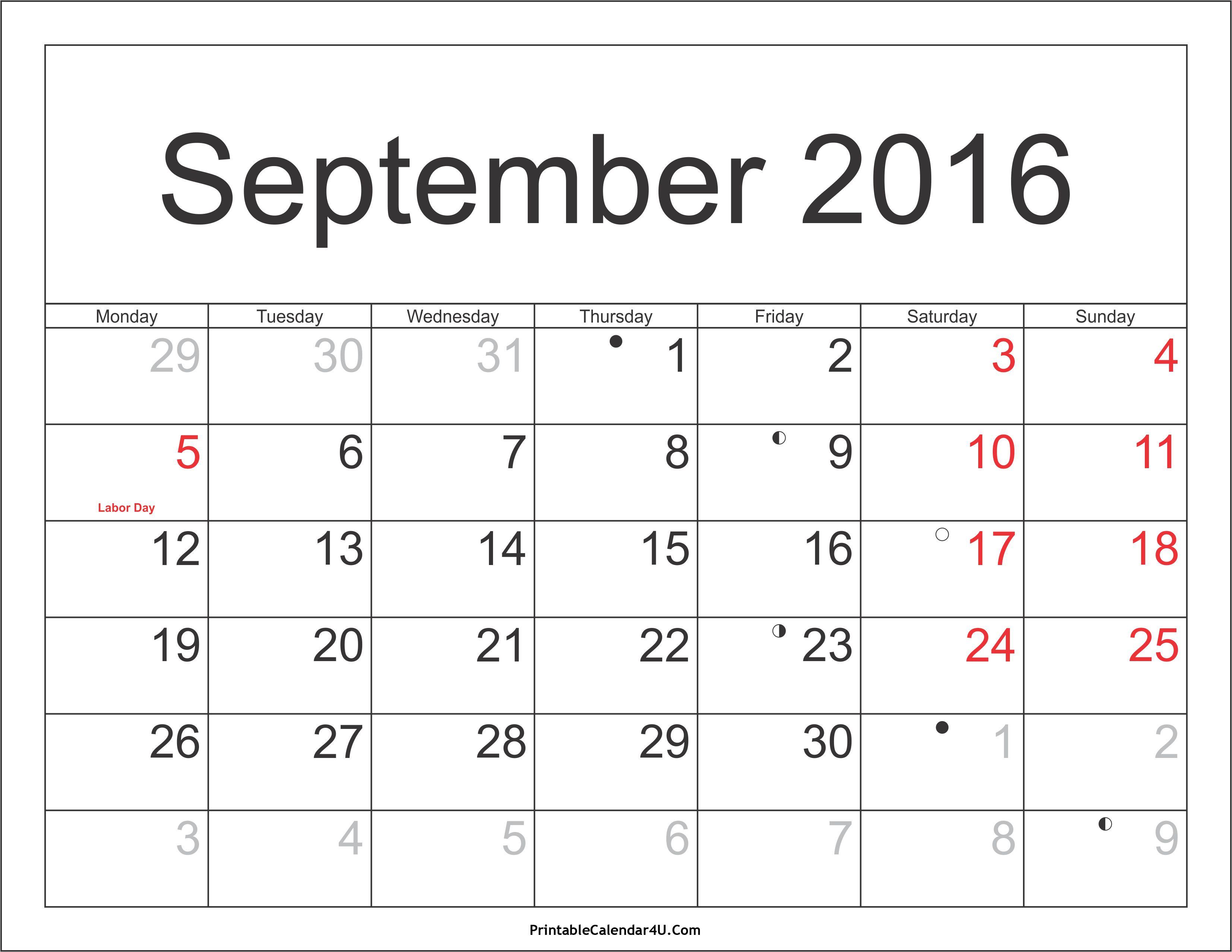 September 2016 Calendar Print With Images November Calendar