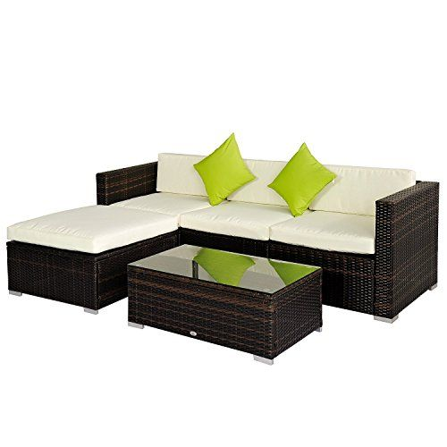 Outsunny Rattan Wicker Conservatory Outdoor Garden Patio Furniture Corner Sofa Set Without Parasol Brown Corner Sofa Outdoor Outdoor Patio Furniture Sets Patio Furniture Sets