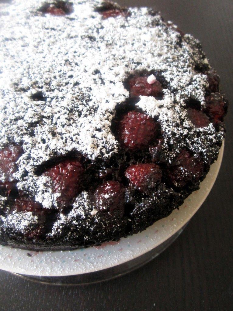 Dark Chocolate Raspberry upside-down cake