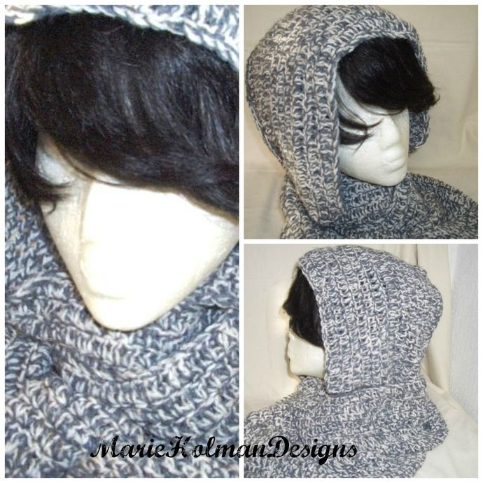 Crochet Hood and Neck Wrap Infinity Cowl Scarf / Extra Long Wrap  by MarieHolmanDesigns, $45.00 USD