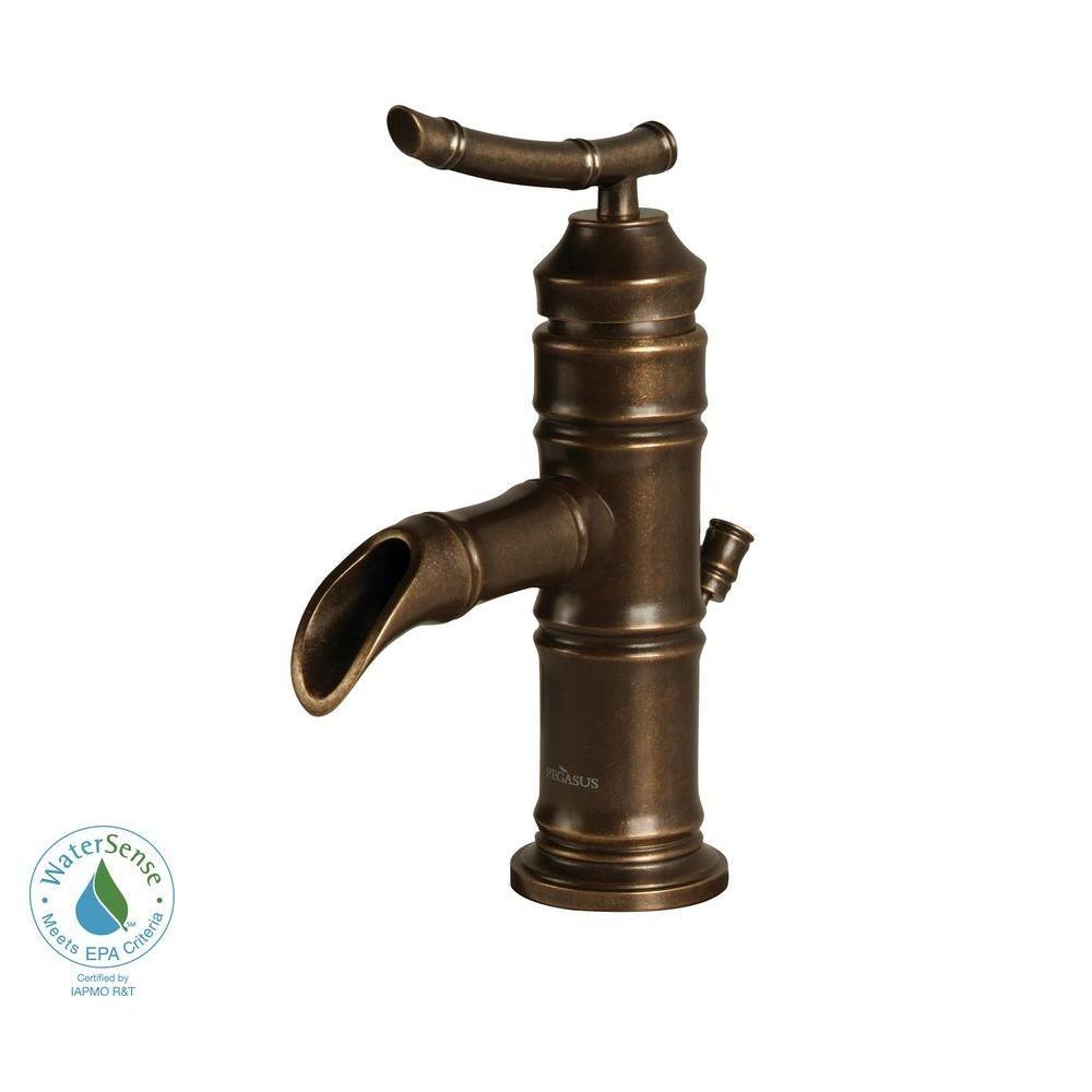 Pegasus Bamboo 4 In Minispread 1 Handle Low Arc Bathroom Faucet Heritage