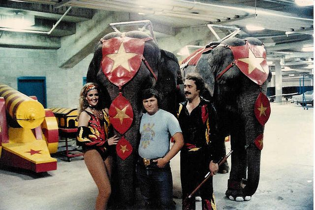 Joyce & Billy with two of their trained elephants