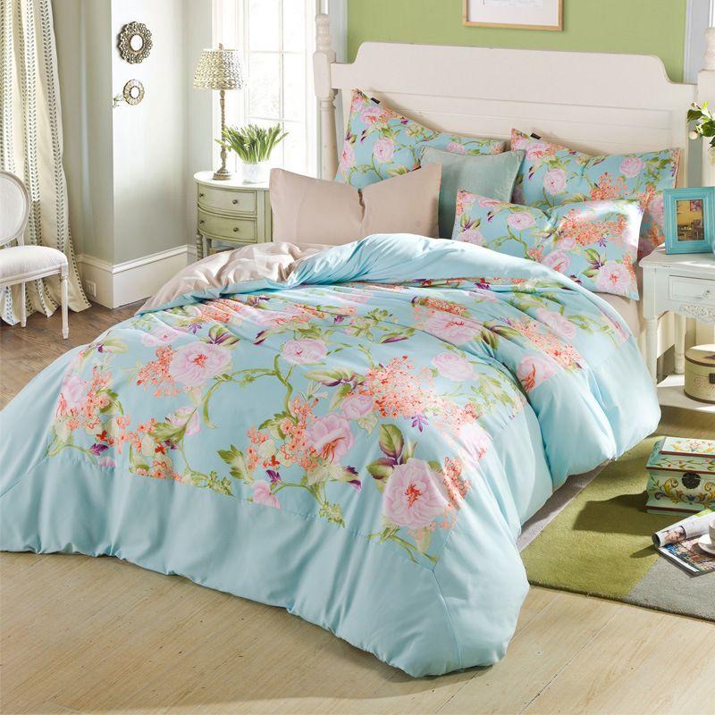 Cotton 4 Pcs Pink Girl Style Bedding Set Flower Lover Bird Bed Linen