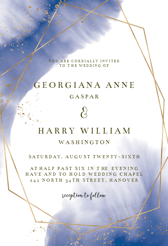 Gold Polygon Wedding Invitation Template Free Wedding