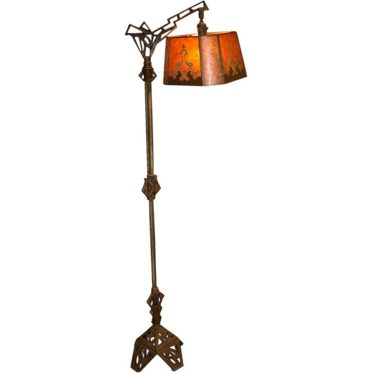 1920's Floor Lamp with Period Mica Shade | Floor lamp, Modern ...