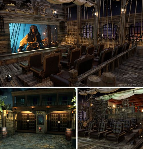 Interior Design Ideas For Home Theater: Impressive Pirates Themed Home Theater