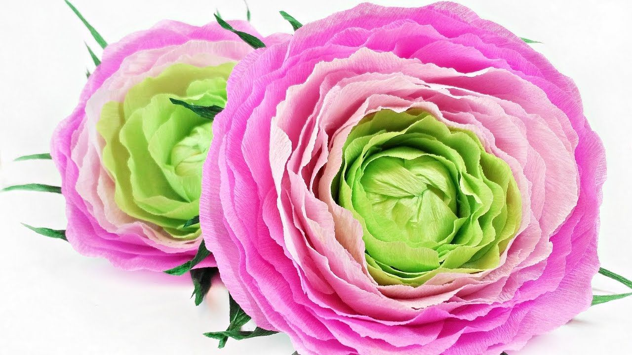 Ranunculus Rose Flower From Crepe Paper Tutorial Making Realistic
