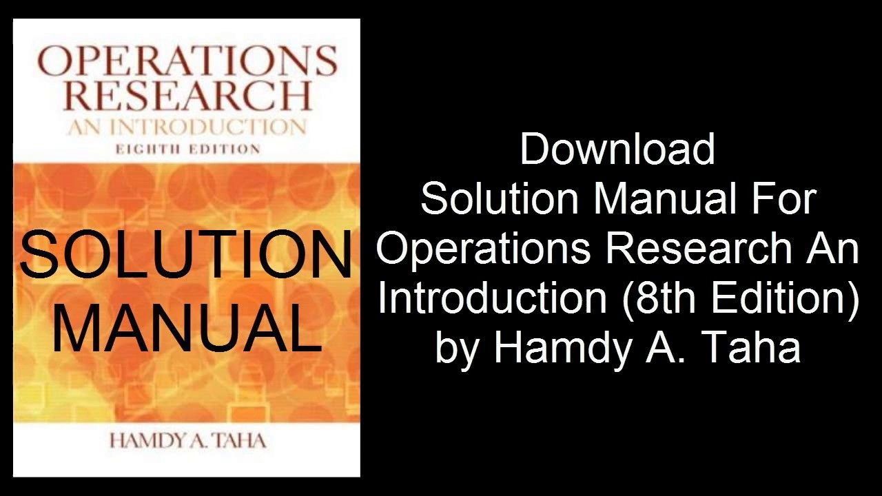 DOWNLOAD: Operations research hamdy taha 8th edition solution manual pdf