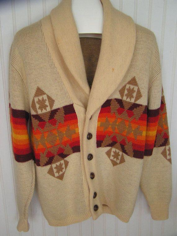 ddedc9b8bb20e0 Vintage Pendleton Western Cardigan 70s wool sweater southwester mens M