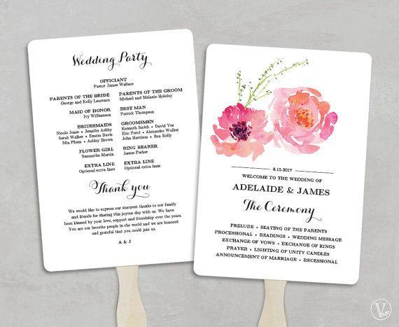 Printable Wedding Program Fan Template Wedding Fans by