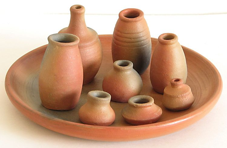 Terracotta Plate With Different Types Of Pots For Decoration Miniature Pottery Decorative Items Terracotta