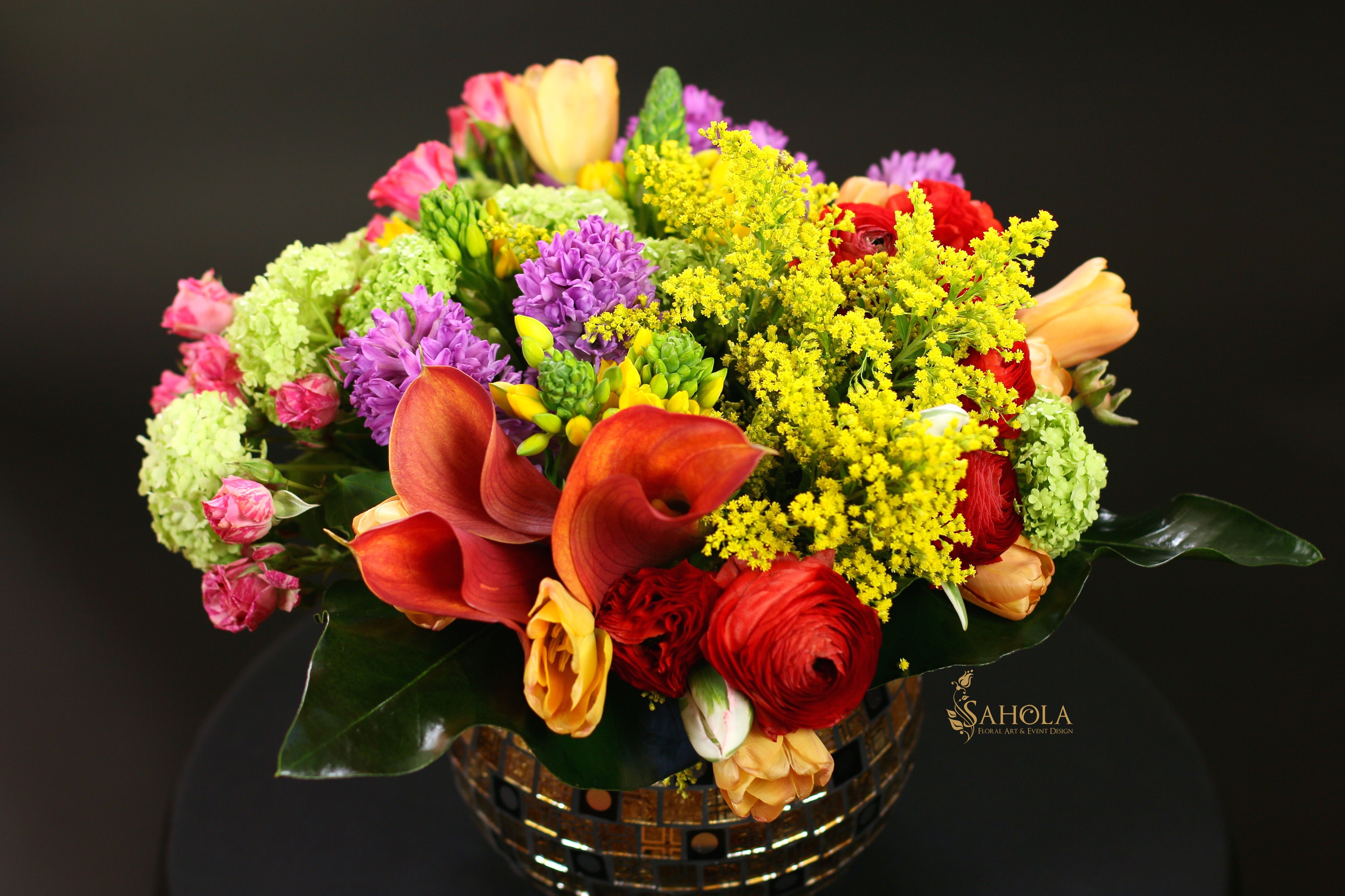 Beautiful Bright Flower Arrangement With Ranunculus Callas