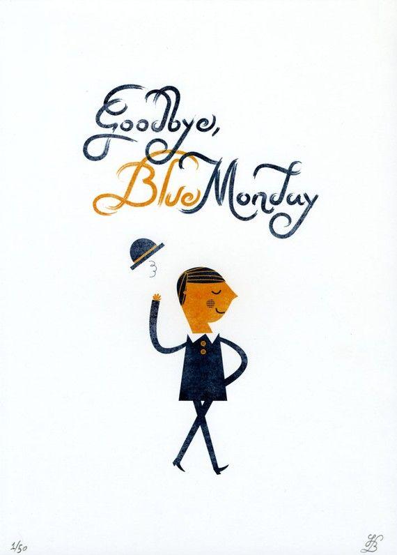 Édition limitée bleu d'au revoir lundi impression (par Blanca Juanjo &)