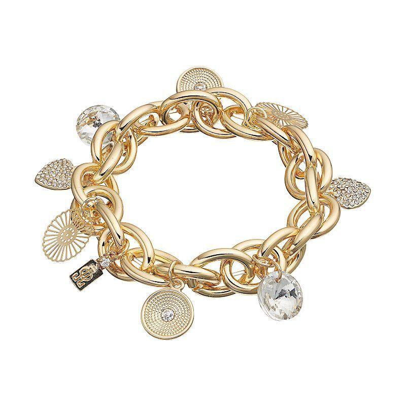Jennifer Lopez Disc & Heart Charm Chain Link Stretch Bracelet, Women's,