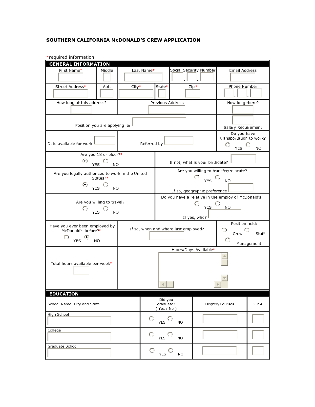 Mcdonalds Application Mcdonalds Application Application Form Doctors Note Template