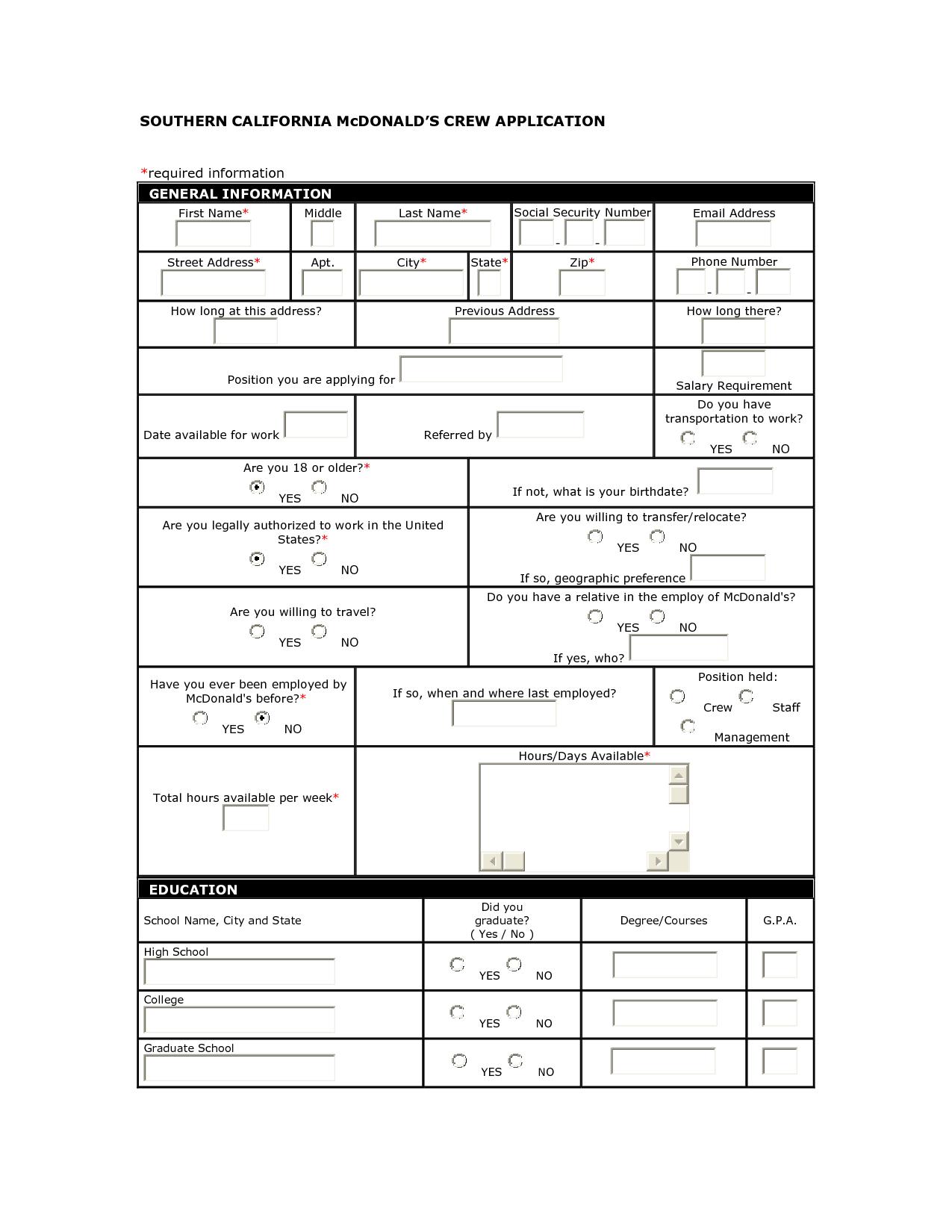 McDonalds Job Application Form | McDonalds Application | SLP stuff ...