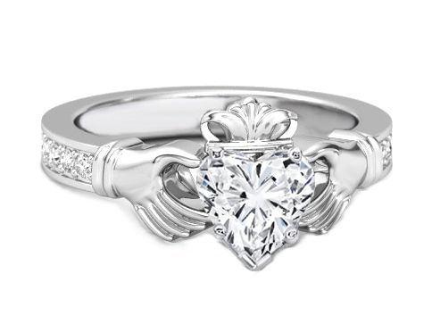 Heart Shape Diamond Claddagh Engagement Ring Claddagh Engagement