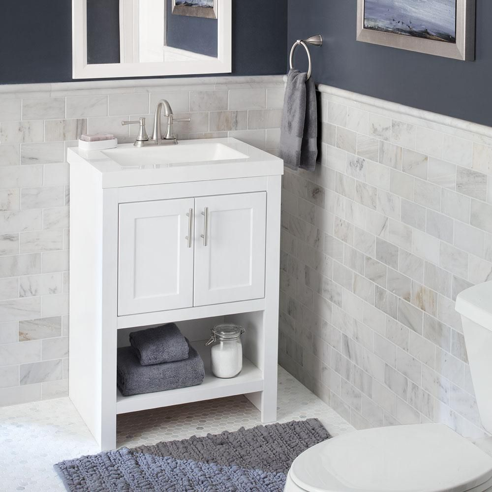 Glacier Bay Spa 24.5 In. W Bath Vanity In White With Cultured Marble Vanity  Top In White With White Basin And Mirror PPSPAWHT24M   The Home Depot
