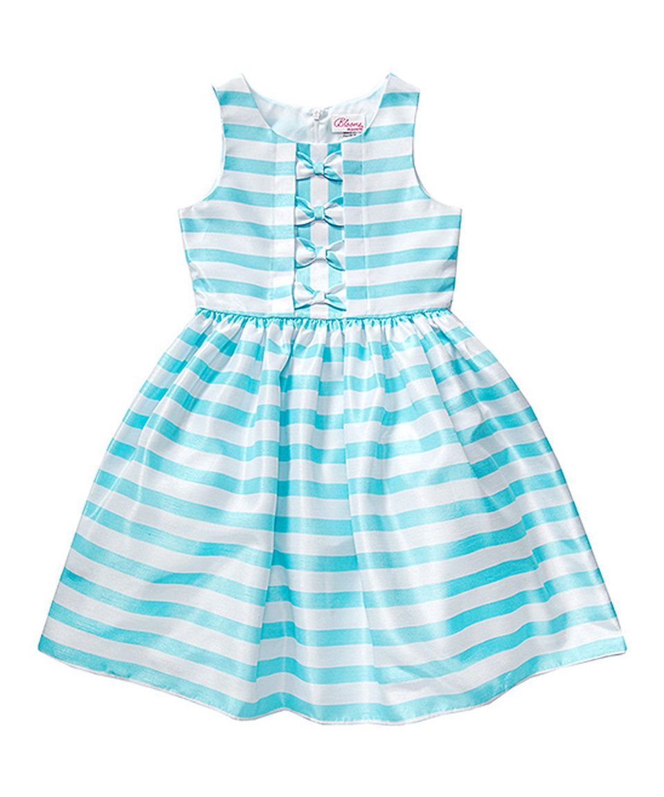 Take a look at this youngland turquoise u white stripe aline dress