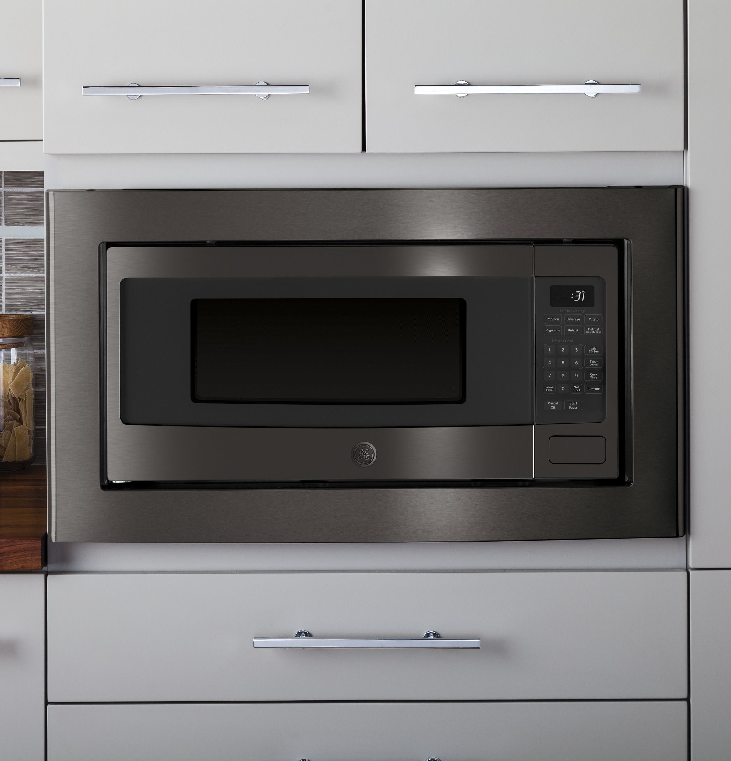 Ge Profile 1 1 Cu Ft Countertop Microwave Oven Pem31bmts Ge Appliances In 2020 Countertop Microwave Microwave Oven Black Microwave