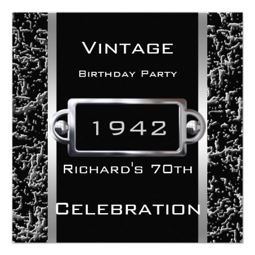 Any Age Vintage 70th Black Metal Image Look Party Invitation