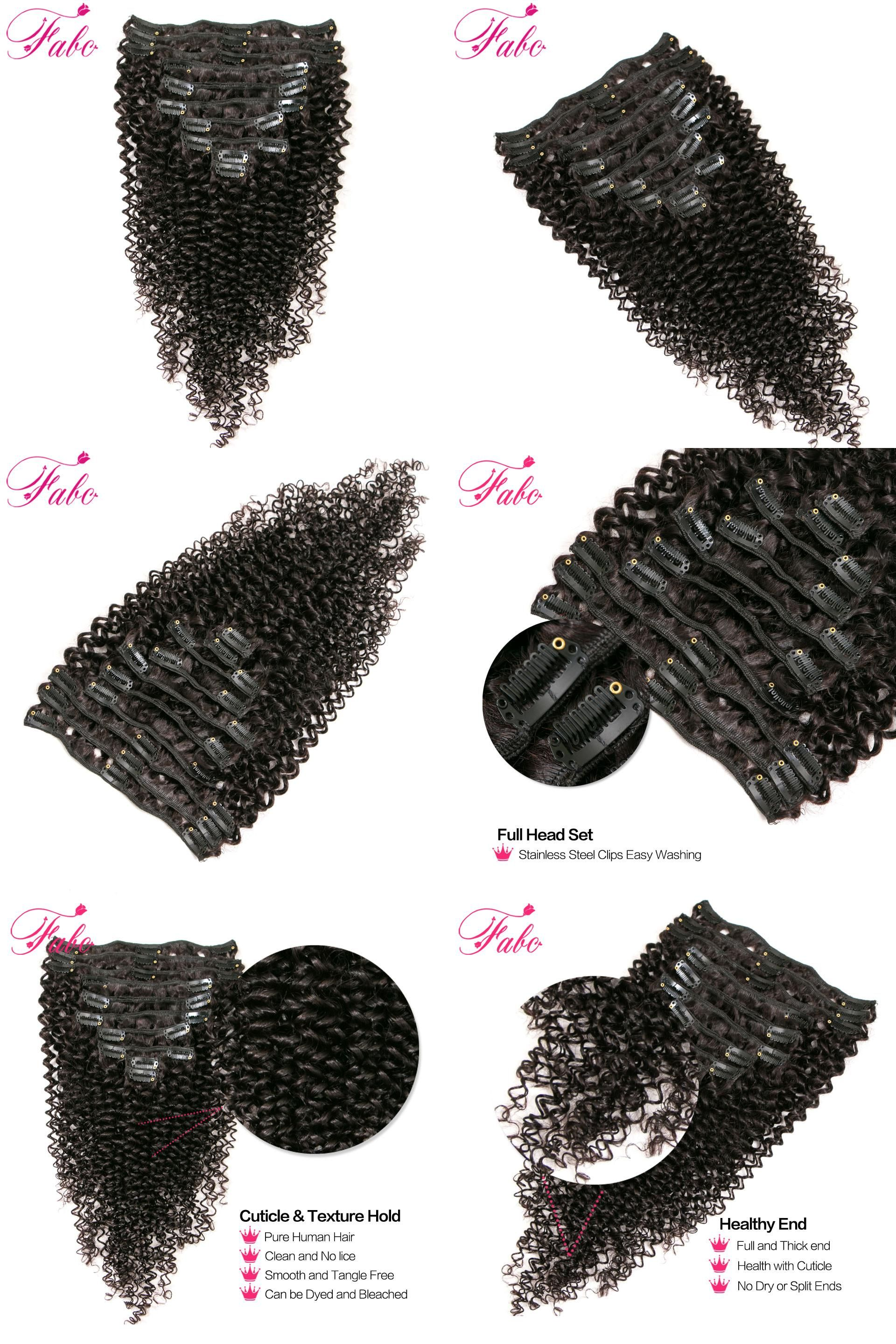 Visit To Buy Fabc Hair Kinky Curly Clip In Human Hair Extensions