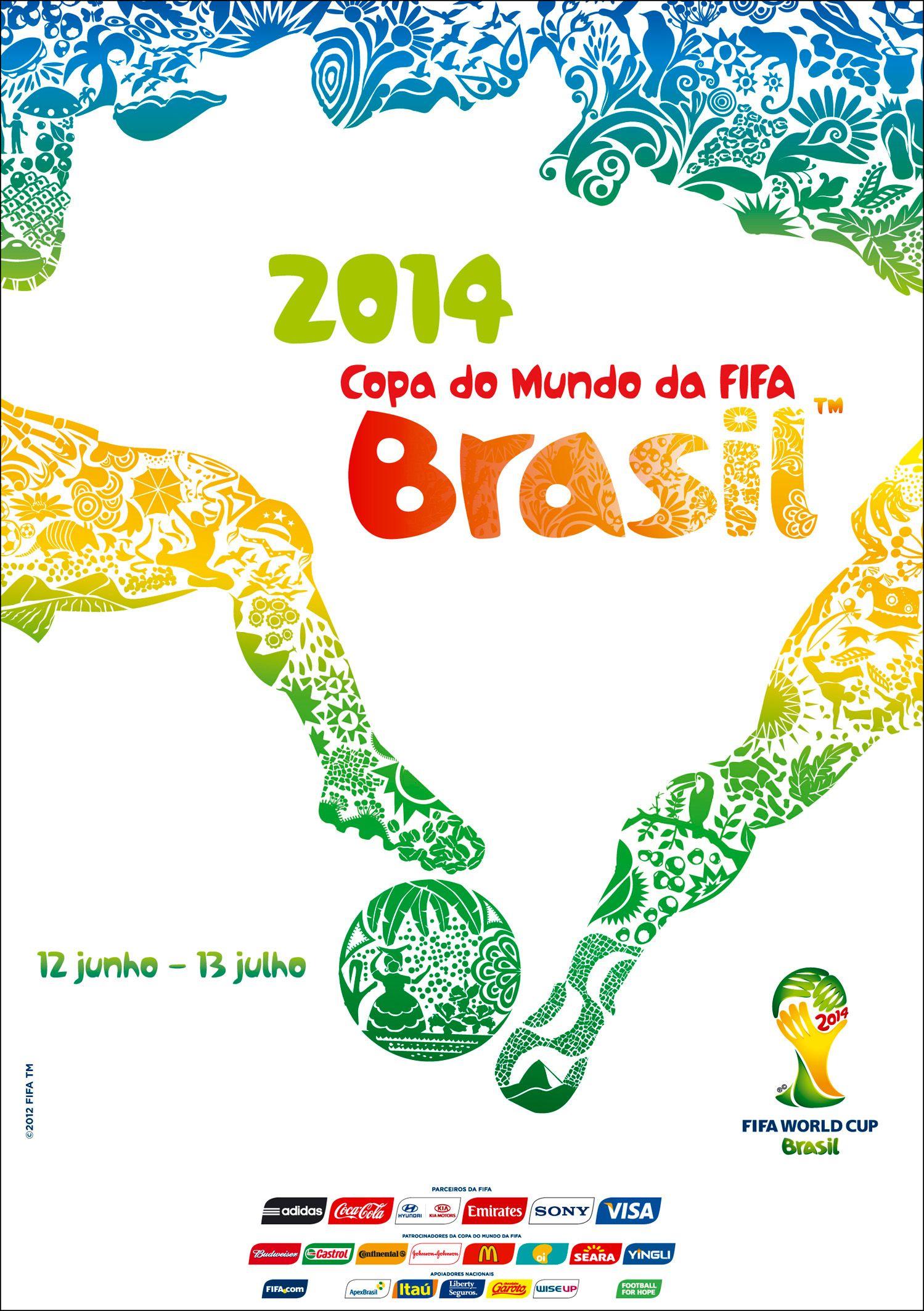 Poster World Cup 2014 Con Imagenes Mundial De Futbol Copa Del