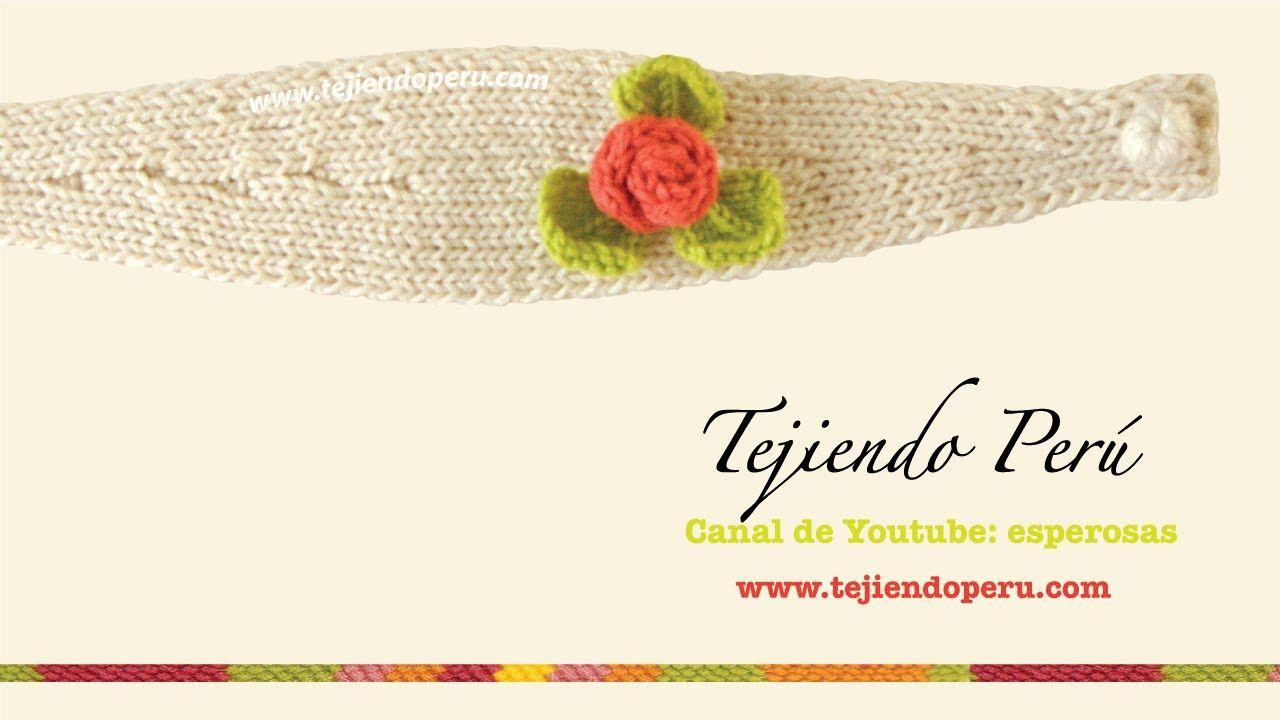 Vincha o diadema con flor tejida en dos agujas | accesorios ...