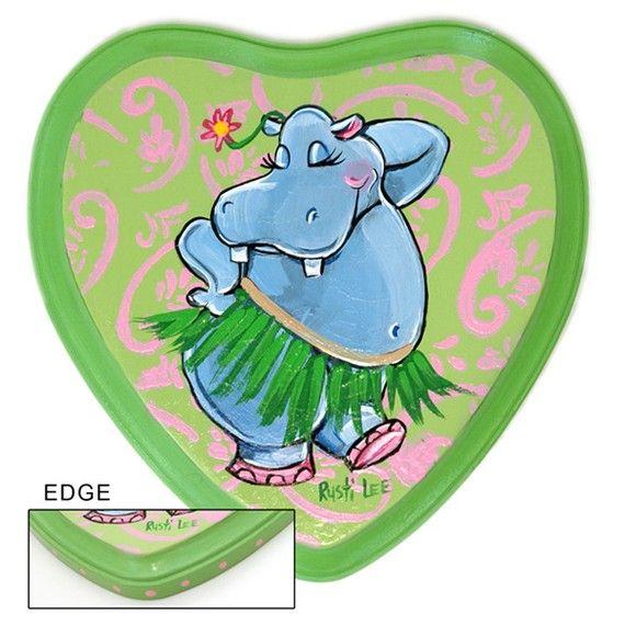 Hula Dancing Blue Hippo Art by RustiLee on Etsy, $33.99