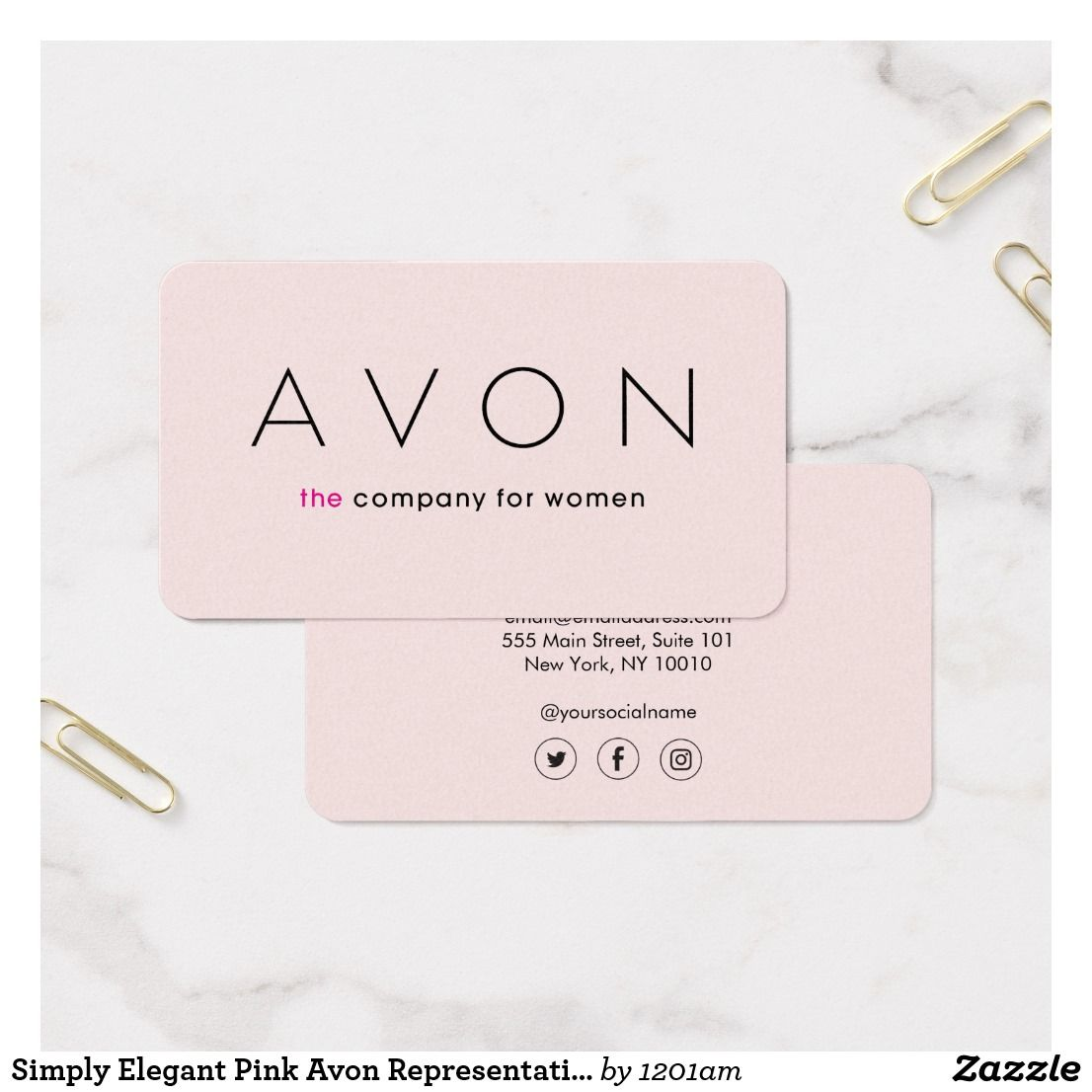 Simply Elegant Pink Avon Representative Business Card | Business cards