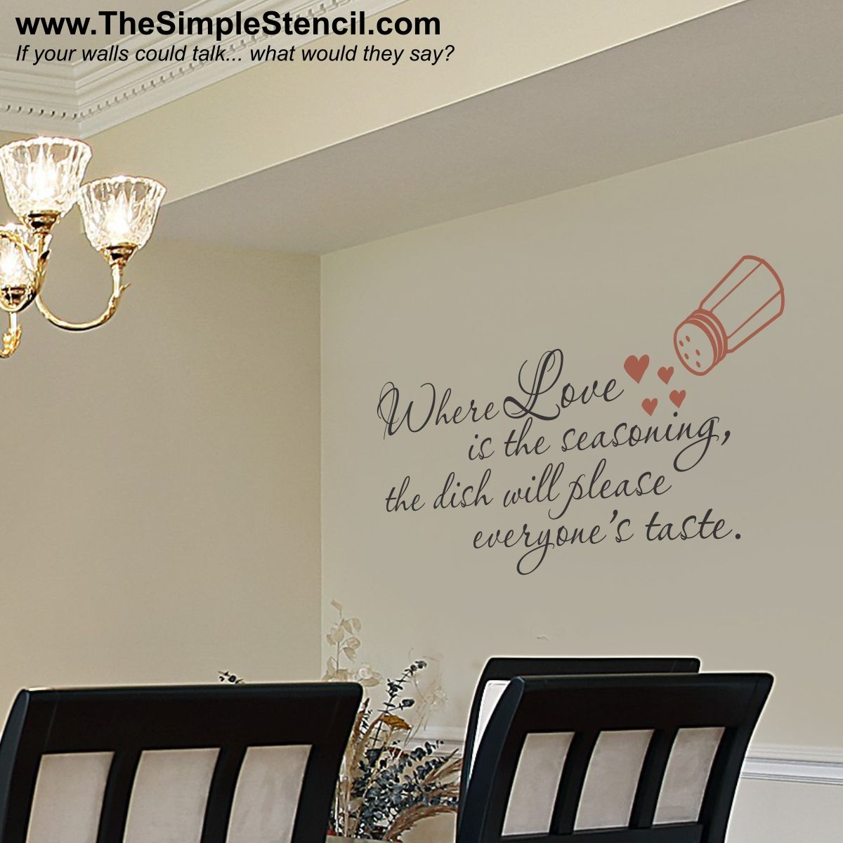 where love is the seasoning vinyl wall quotes wall quotes kitchen wall quotes on kitchen decor quotes wall decals id=41257