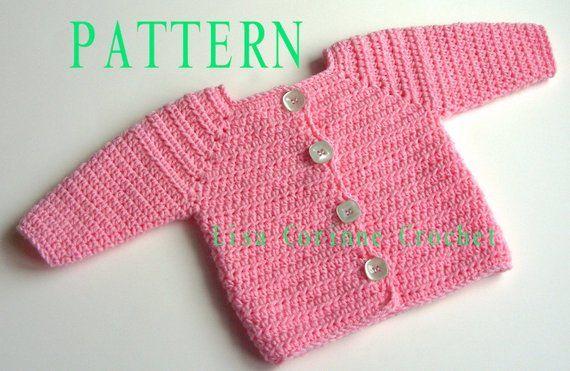 Baby Girl Sweater Crochet PATTERN, Baby Sweater PATTERN, Crochet Sweater