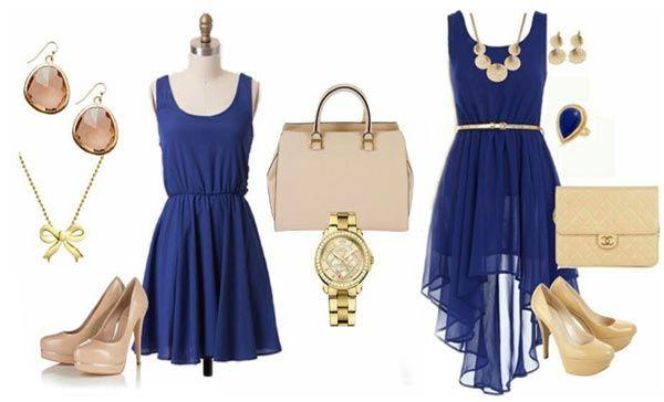 Vestido Azul En 2019 Vestidos Azules Accesorios Para