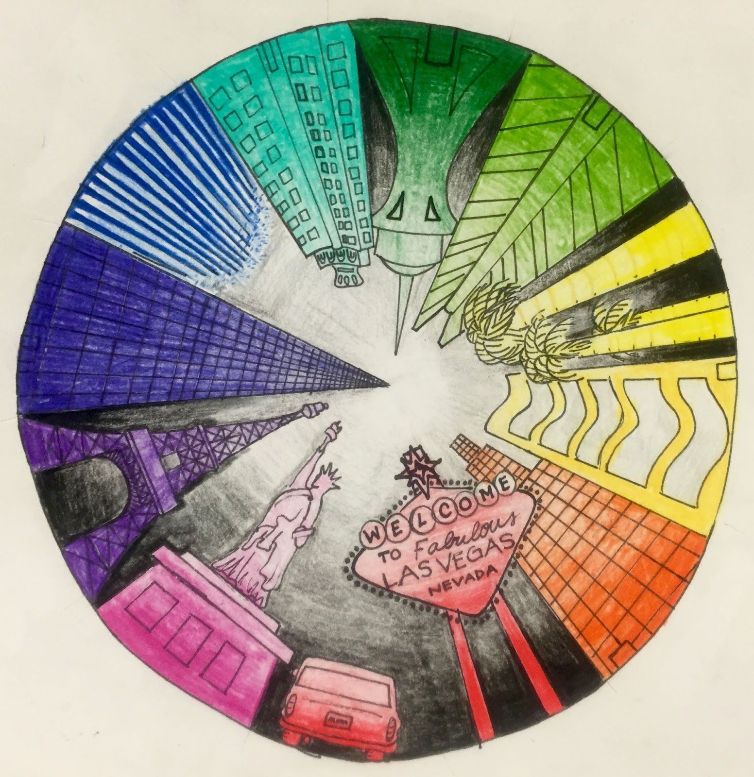 Color wheel art lesson for second grade - Objective Students Will Create A Color Wheel Using One Point Perspective Accurate Color Placement And Value Ca Art Standards