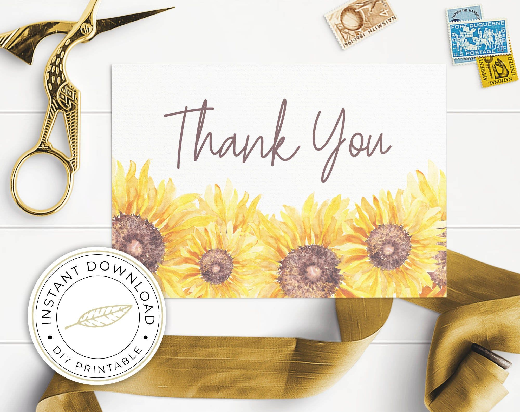 Sunflower Thank You Cards Template Printable Folded Tend And Flat Instant Download In 2021 Thank You Card Template Card Templates Printable Thank You Cards