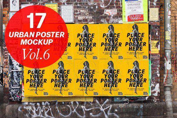 Urban Poster Mock Up Vol 6 By Urban Poster Mockup On Creativemarket Poster Mockup Business Card Mock Up Mocking