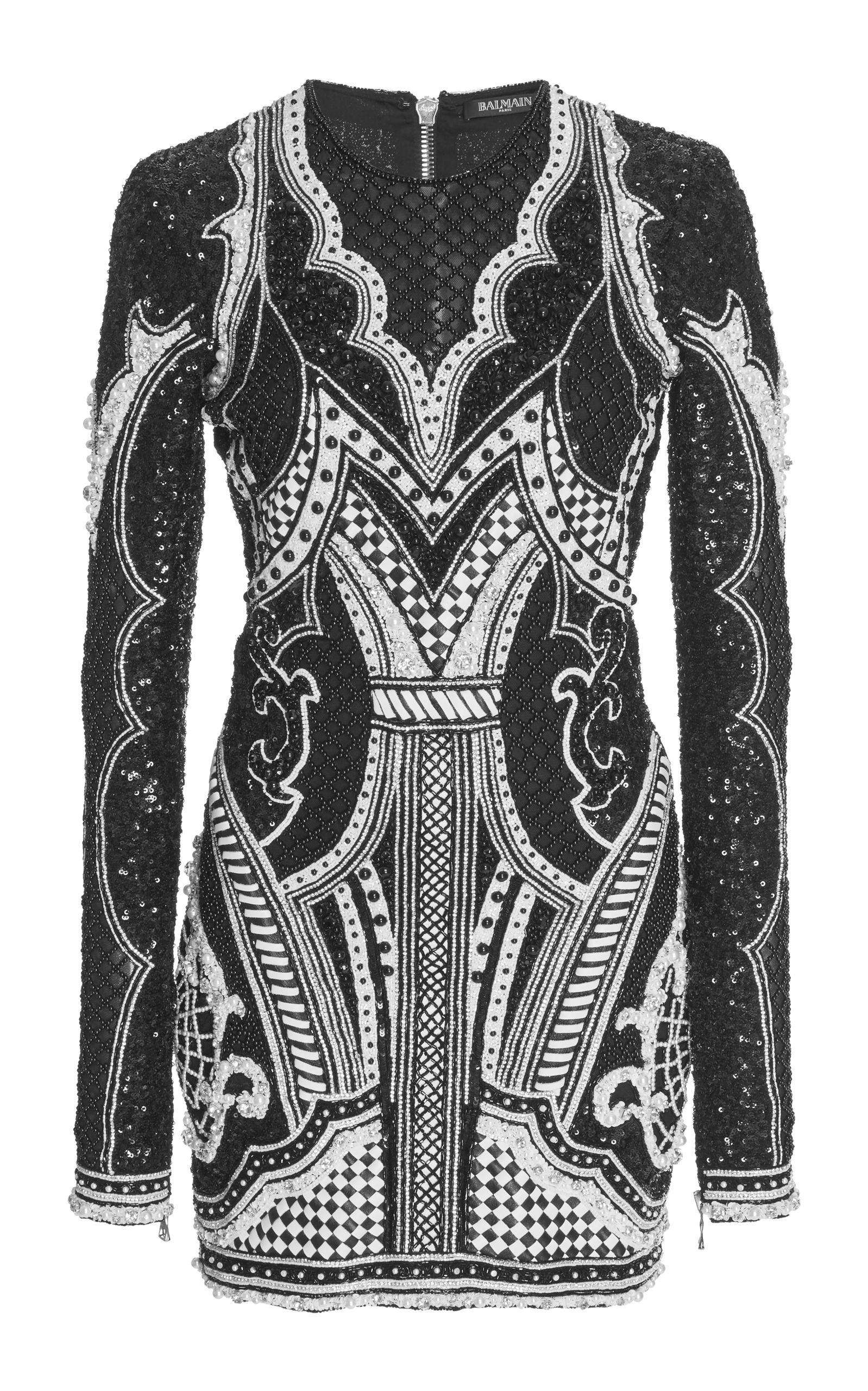 Beaded net mini dress by balmain for preorder on moda operandi