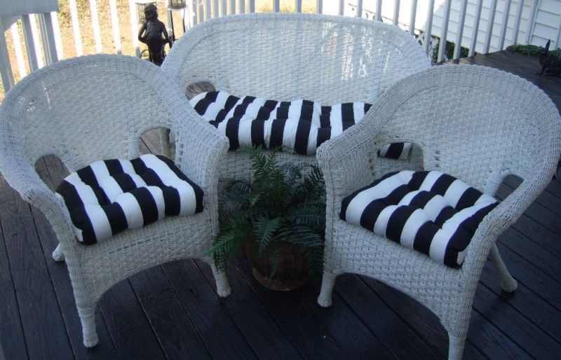 Black and white stripe cushions for wicker loveseat settee