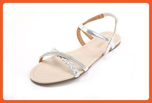 e48d395025b80 Mu Dan Womens Shoe Flat Braided   Rhinestone Comfortable Slingback Sandal  (10 B(M) US